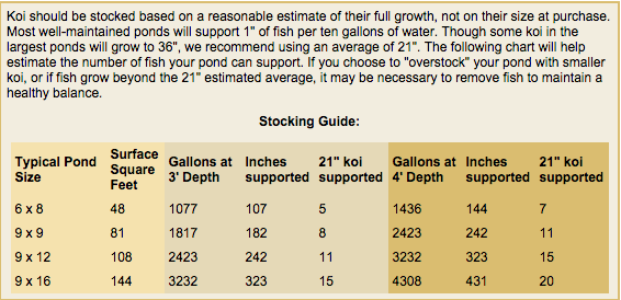 Koi Pond stocking guideline