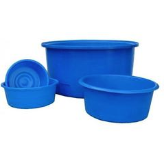 Blue viewing bowls for inspecting koi fish