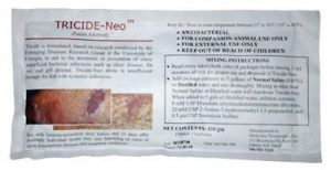 A package of tricide-neo used in treating Koi fish